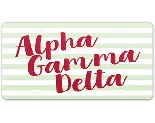 Alpha Gamma Delta Striped License Plate