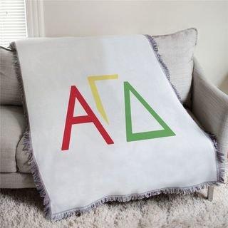 Alpha Gamma Delta Three Color Greek Letters Afghan Blanket Throw