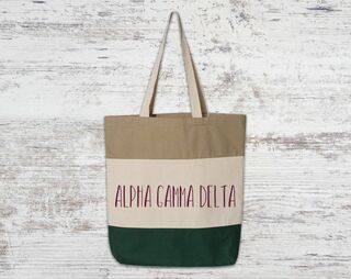 Alpha Gamma Delta Tri Color Tote Bag