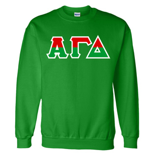 Alpha Gamma Delta Two Tone Greek Lettered Crewneck Sweatshirt