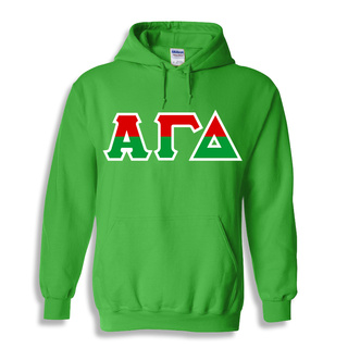 Alpha Gamma Delta Two Tone Greek Lettered Hooded Sweatshirt