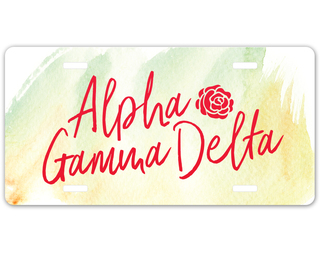 Alpha Gamma Delta Watercolor Script License Plate