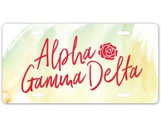 Alpha Gamma Delta Watercolor Script License Plate