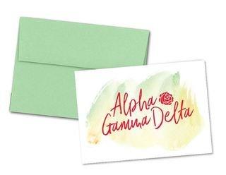 Alpha Gamma Delta Watercolor Script Notecards(6)