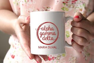 Alpha Gamma Delta White Mascot Coffee Mug