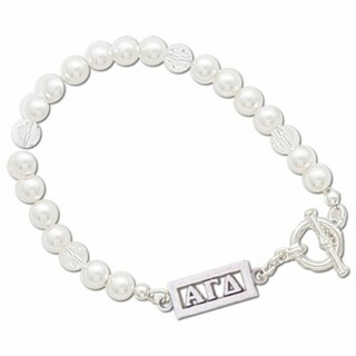 Alpha Gamma Delta White Pearl & Clear Bracelet