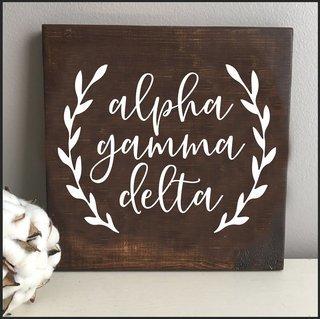 Alpha Gamma Delta Wooden Wall Art