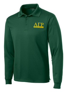 Alpha Gamma Rho- $30 World Famous Long Sleeve Dry Fit Polo