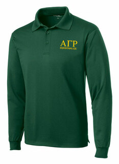 Alpha Gamma Rho- $35 World Famous Long Sleeve Dry Fit Polo