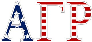 "Alpha Gamma Rho American Flag Greek Letter Sticker - 2.5"" Tall"