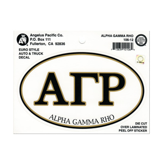 Alpha Gamma Rho Euro Decal Oval Sticker