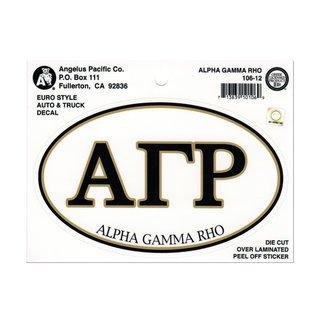 Alpha Gamma Rho Euro Decal Oval Sticker