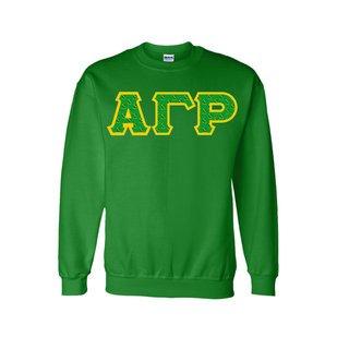 Alpha Gamma Rho Fraternity Crest - Shield Twill Letter Crewneck Sweatshirt