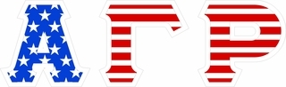 "Alpha Gamma Rho Giant 4"" American Flag Greek Letter Sticker"