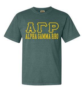 Alpha Gamma Rho Greek Outline Comfort Colors Heavyweight T-Shirt
