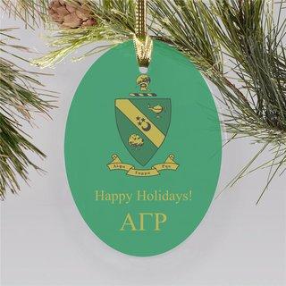 Alpha Gamma Rho Holiday Color Crest - Shield Ornament