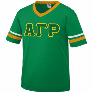 DISCOUNT-Alpha Gamma Rho Jersey With Greek Applique Letters