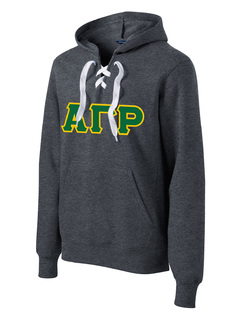 DISCOUNT-Alpha Gamma Rho Lace Up Pullover Hooded Sweatshirt