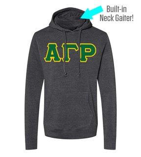 Alpha Gamma Rho Lettered Gaiter Fleece Hooded Sweatshirt