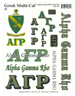 Alpha Gamma Rho Multi Greek Decal Sticker Sheet
