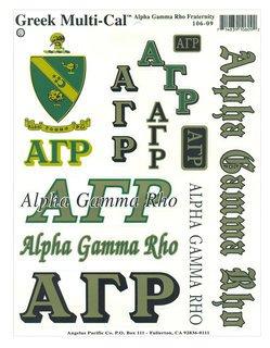 Alpha Gamma Rho Multi Greek Decal Sticker Sheet