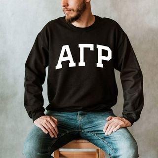 Alpha Gamma Rho Arched Greek Letter Crewneck Sweatshirt