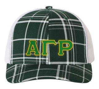 Alpha Gamma Rho Plaid Snapback Trucker Hat - CLOSEOUT