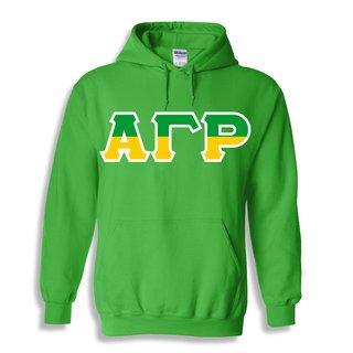 Alpha Gamma Rho Two Tone Greek Lettered Hooded Sweatshirt