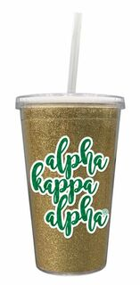Alpha Kappa Alpha 16 OZ Sorority Newport Glitter Tumbler