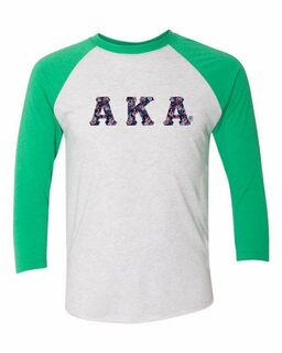 Alpha Kappa Alpha Unisex Tri-Blend Three-Quarter Sleeve Baseball Raglan Tee