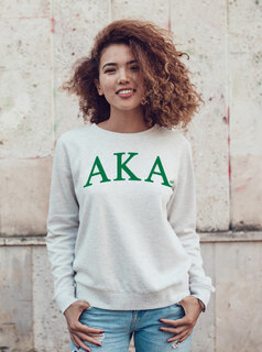 Alpha Kappa Alpha Arched Greek Lettered Crewneck Sweatshirt