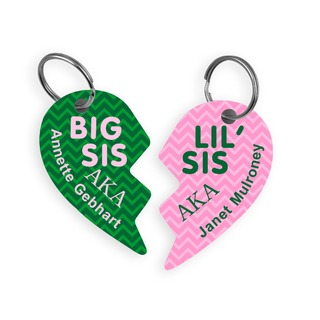 Alpha Kappa Alpha Big & Little Heart Halve Key Chains (2)