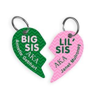 Alpha Kappa Alpha Big & Little Heart Halve Key Chains (2)