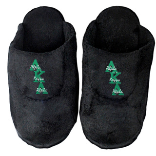 DISCOUNT-Alpha Kappa Alpha Black Solid Letter Slipper