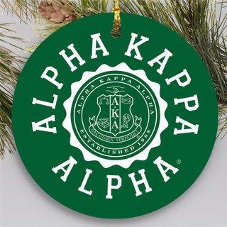 Alpha Kappa Alpha Round Christmas Shield Ornament