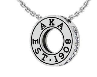 Alpha Kappa Alpha Circle Established Charm Necklace - FREE GROUND SHIPPING