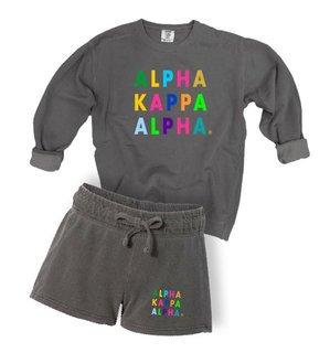 Alpha Kappa Alpha Comfort Colors Crew and Short Set