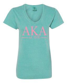Alpha Kappa Alpha Comfort Colors Custom V-Neck T-Shirt