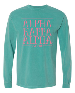 Alpha Kappa Alpha Comfort Colors Custom Long Sleeve T-Shirt