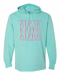 Alpha Kappa Alpha Comfort Colors Terry Scuba Neck Custom Hooded Pullover