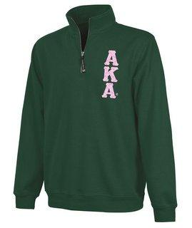 Alpha Kappa Alpha Crosswind Quarter Zip Twill Lettered Sweatshirt