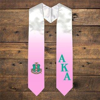 Alpha Kappa Alpha Extra Fancy Diagonal Greek Graduation Stole W Crest