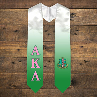 Alpha Kappa Alpha Extra Fancy Simple Greek Graduation Stole W Crest