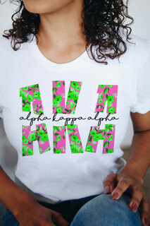 Alpha Kappa Alpha Floral Big Lettered T-Shirt