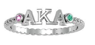 Alpha Kappa Alpha Jewel Letter Ring