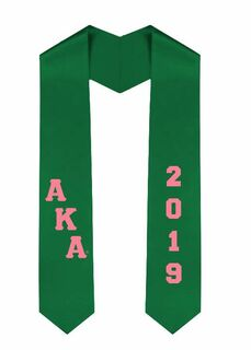 Alpha Kappa Alpha Greek Diagonal Lettered Graduation Sash Stole With Year