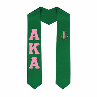 Alpha Kappa Alpha Greek Lettered Graduation Sash Stole