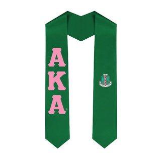 Alpha Kappa Alpha Greek Lettered Graduation Sash Stole With Crest
