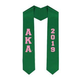 Alpha Kappa Alpha Greek Lettered Graduation Sash Stole With Year - Best Value