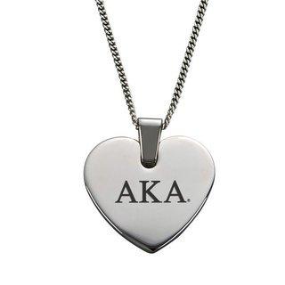 Alpha Kappa Alpha Heart Shaped Pendant & Necklace